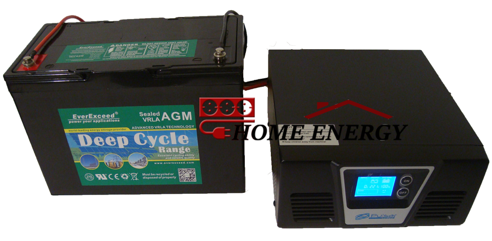 Система беспребойного питания на базе инвертора Pulsar RX300W и аккумулятора EverExceed DP12-100